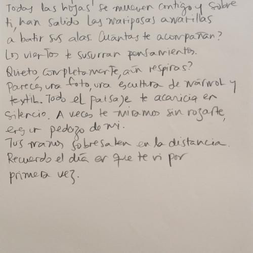 Texto de Natalia Behaine (24.5 x 16.5 cm) viendo a Jérôme Birolini.