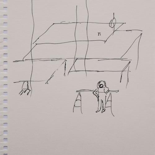 Hoja intervenida de Jean Birolini (23.5 x 16.8 cm).