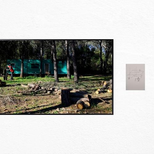 """""""Brignoles"""". Montaje de Jean Birolini, hoja intervenida de Jean Birolini (23.5 x 16.8 cm) y texto de Natalia Behaine (24.5 x 16.5 cm)."""