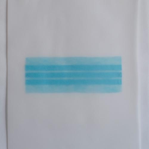 """""""Estado de calle. Primera parte, pieza # 4"""" / Técnica: tapabocas desmembrado y bordado sobre papel / Dimensiones de la obra: 24 x 33,5 cm. Sin enmarcar.."""
